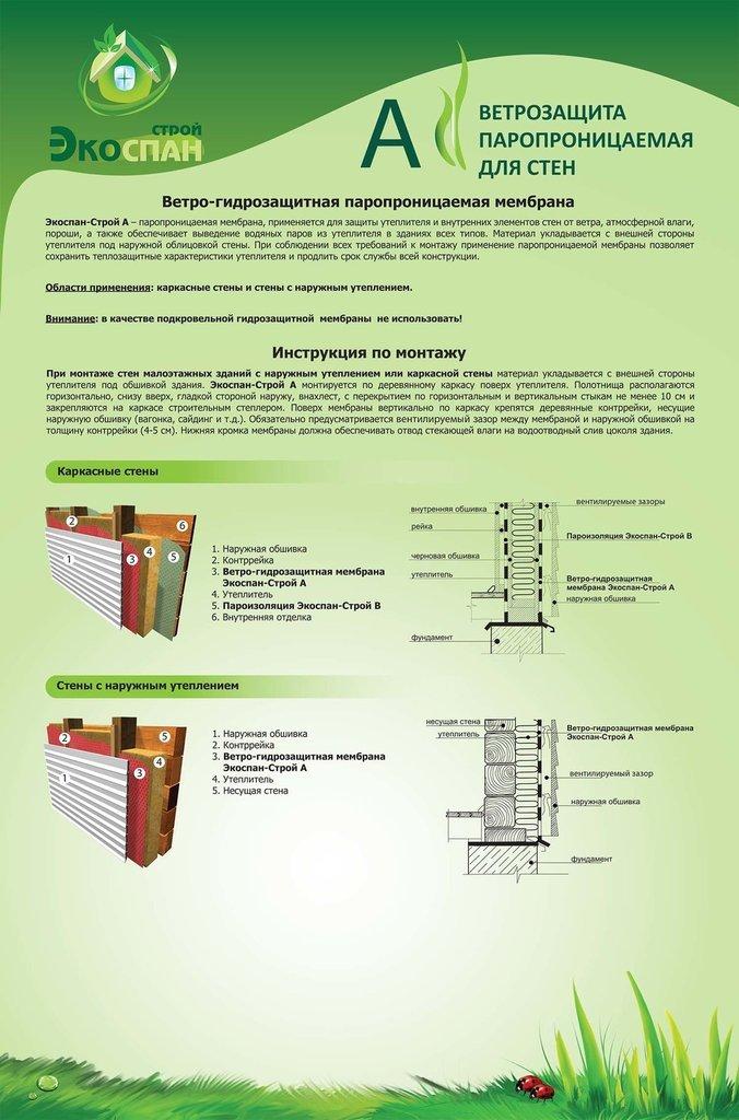 Экоспан: Экоспан-Строй А ветро-влага (рулон 70м2) в АНЧАР,  строительные материалы
