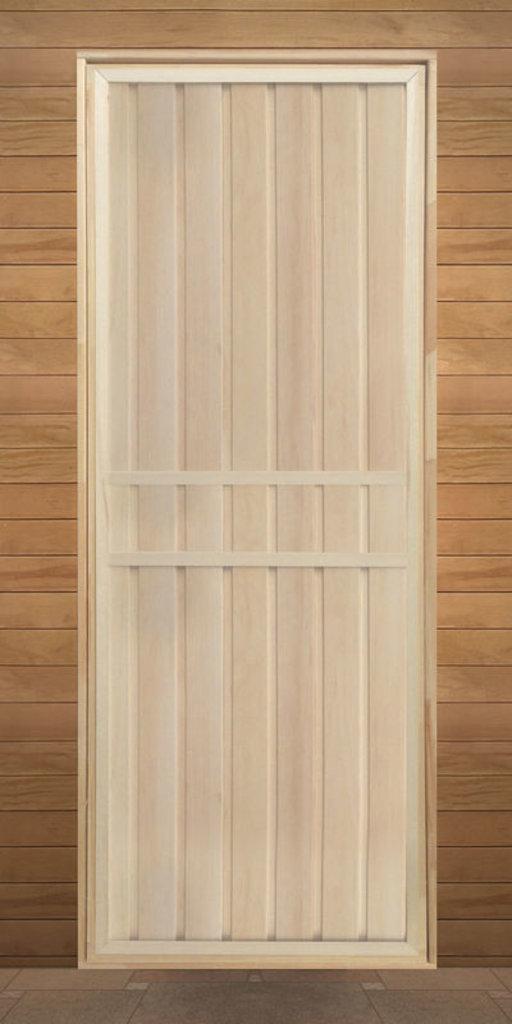 Двери для саун и бань: Дверь 800*1800 мм банная глухая с петлями (вагонка сорт Экстра) в Погонаж