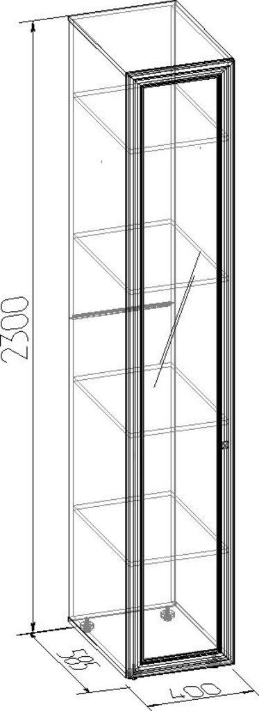 Шкафы для одежды и белья: Шкаф для белья PAOLA 55 патина (Зеркало лев.) в Стильная мебель