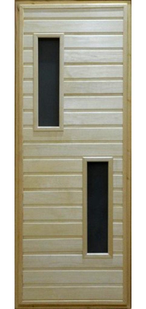 """Двери для саун и бань: Дверь 700*1800мм банная со стеклом, глухая, на петлях (вагонка ЛИПА сорт """"А""""). в Погонаж"""