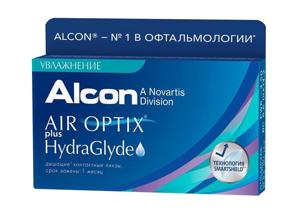 Контактные линзы: Контактные линзы AIR OPTIX PLUS HYDRAGLYDE (3шт / 8.6) ALCON в Лорнет