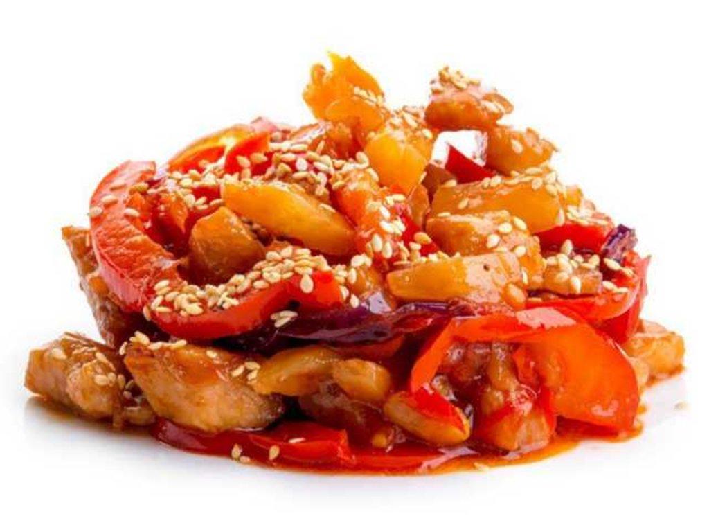 Горячие блюда: Свинина в кисло-сладком соусе в СУШИ БАНДА