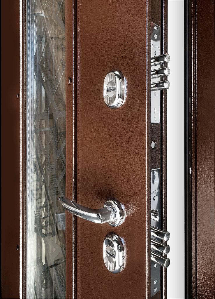 Двери Аргус: Входная уличная дверь с терморазрывом и остеклением «ТЕПЛО БРИАН NEW» Аргус в Двери в Тюмени, межкомнатные двери, входные двери