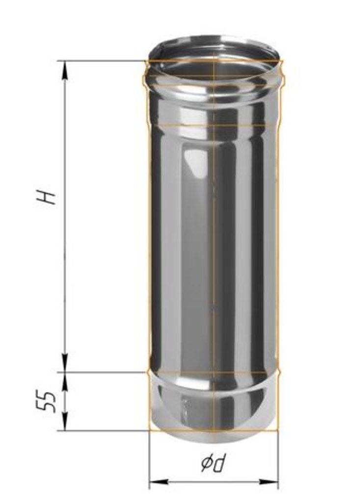 Печи и дымоходы: Дымоход Феррум нержавеющий (430/0,8 мм) ф115 L=0,5м в Погонаж