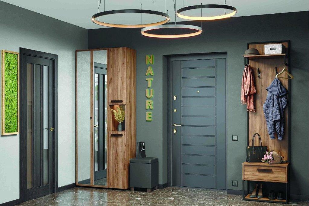 Шкафы, общие: Шкаф для одежды и белья Nature 87 (ФАСАД Зеркало Контур) в Стильная мебель