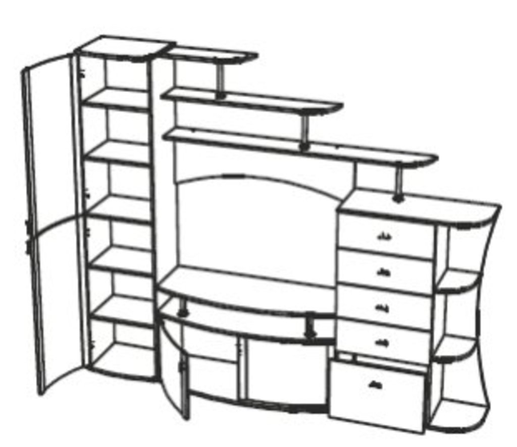 Мебель для гостиных, общее: Стенка Олимп - М15 в Стильная мебель
