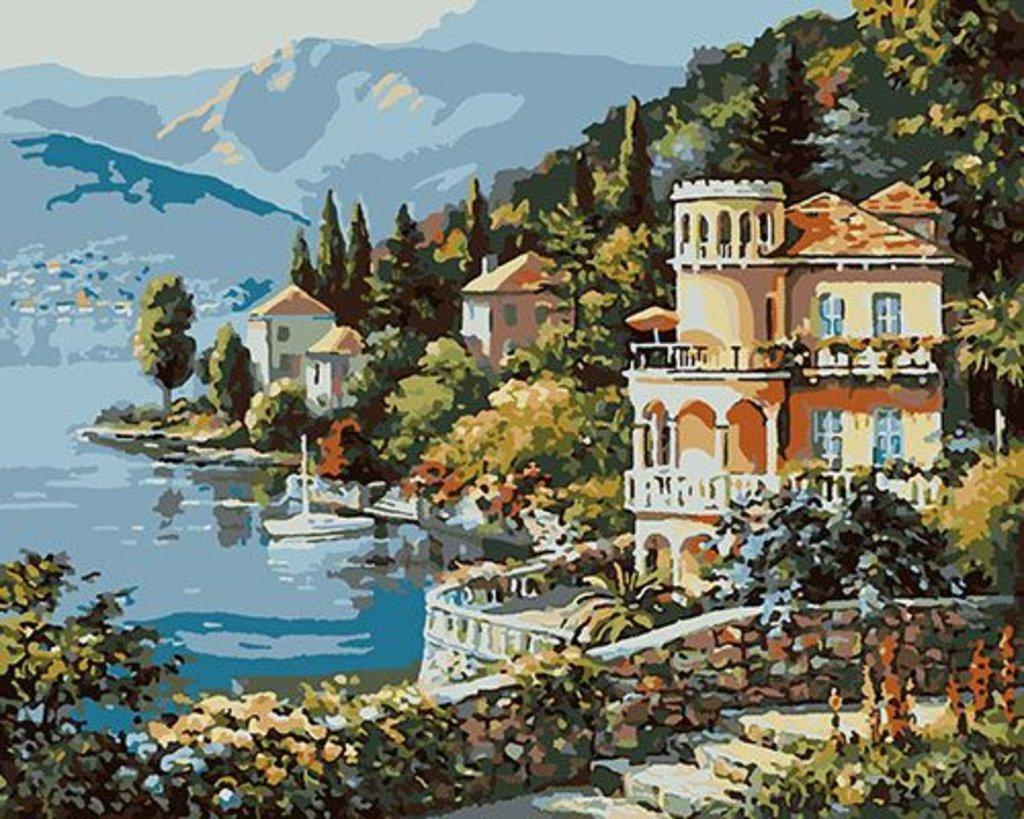 Картины по номерам: Картина по номерам Paintboy 40*50 КА00028 Вилла на берегу озера в Шедевр, художественный салон