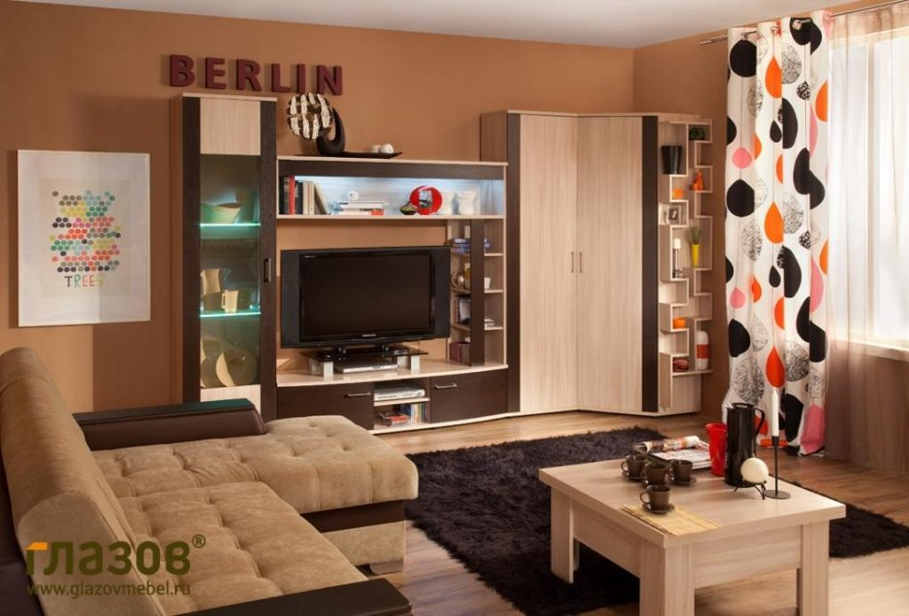 Модульная мебель в гостиную Berlin 2 (Венге): Модульная мебель в гостиную Berlin  (Венге) в Стильная мебель