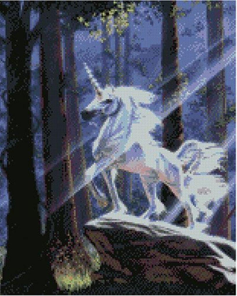 Наборы картин со стразами: Алмазная мозаика 40х50, квадратные стразы L054 Единорог в Шедевр, художественный салон