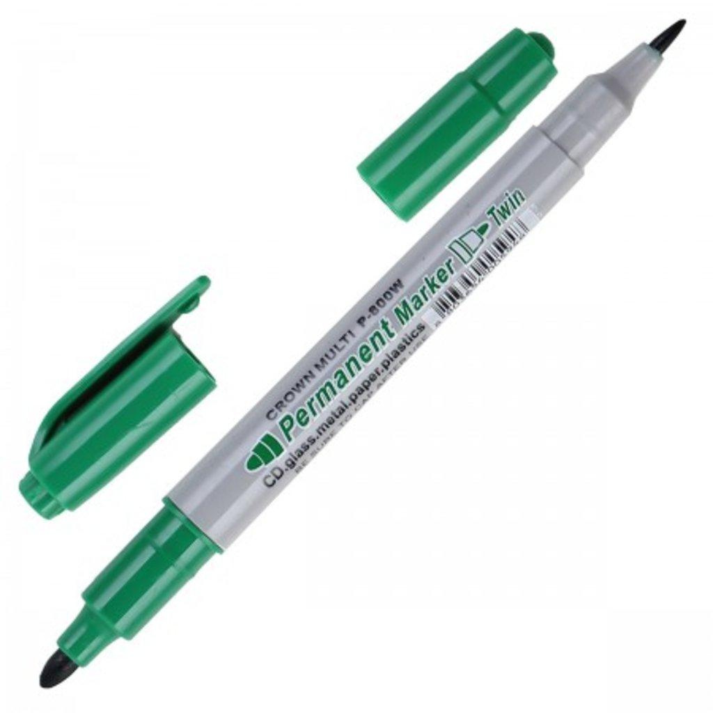 Маркеры, текстовыделители: Маркер перманентный зеленый двусторонний 2мм P800W CROWN в Шедевр, художественный салон
