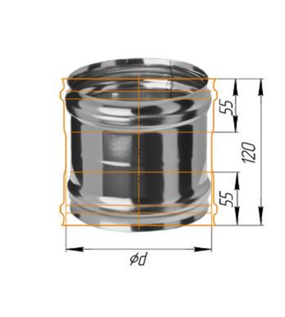 Печи и дымоходы: Адаптер Феррум ММ для печи нержавеющий (430/0,8 мм) ф115 в Погонаж