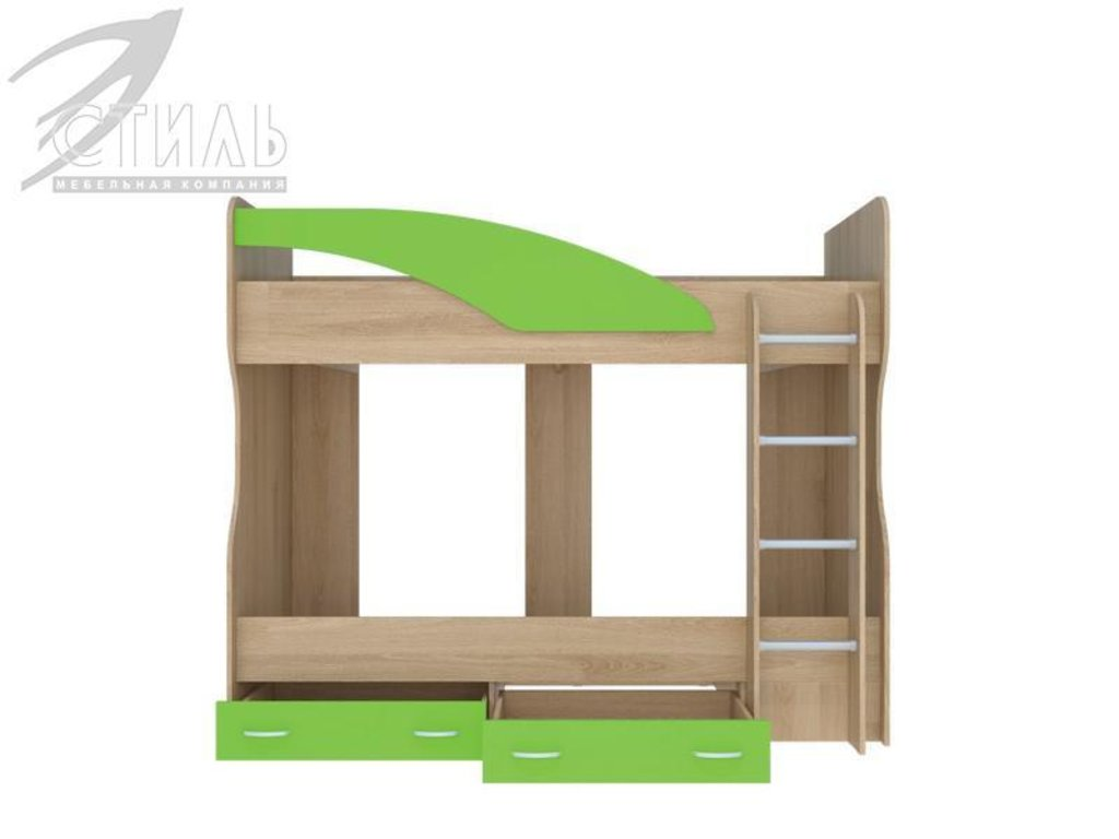 Детские: Кровать 2-х ярусная Мийа (А) (бук/зеленый) в Диван Плюс