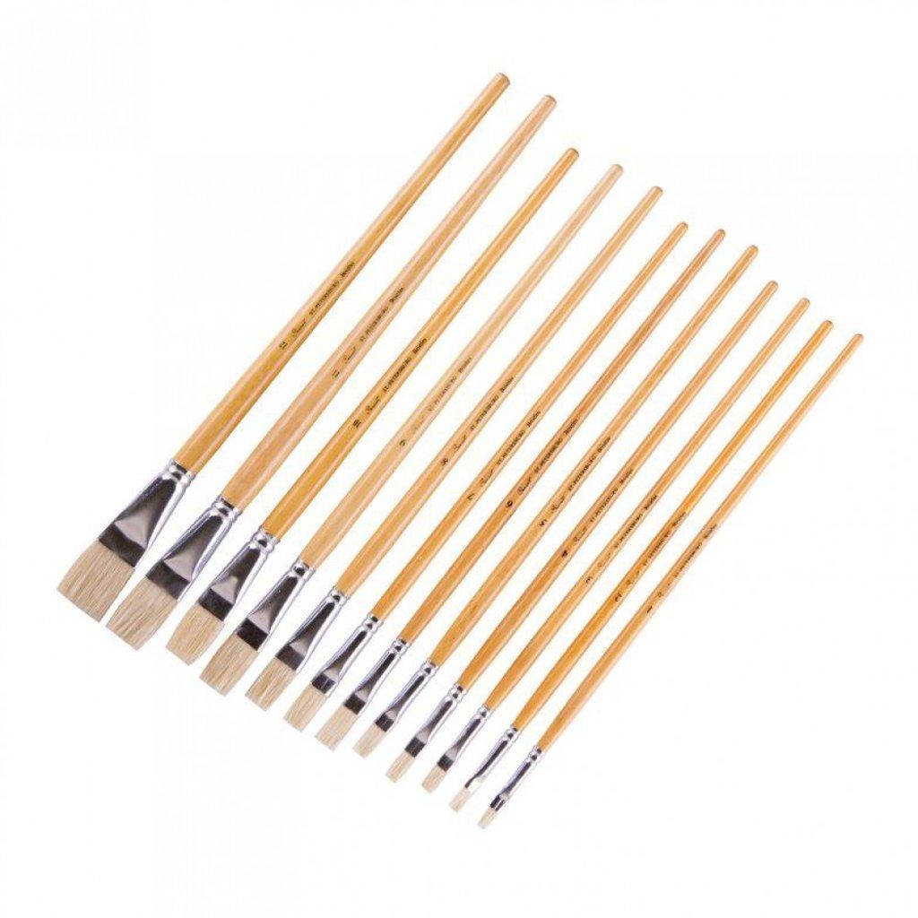 """плоская: Кисть щетина """"Сонет"""" плоская длинная ручка покрытая лаком №3 (7 мм) в Шедевр, художественный салон"""