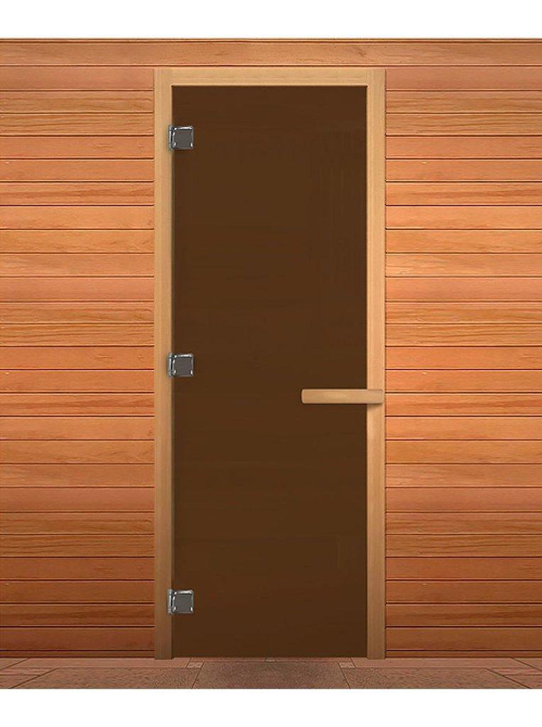 Двери для саун и бань: Дверь 700*1900 мм банная с каленным стеклом 8 мм (цвет бронза матовое) в Погонаж