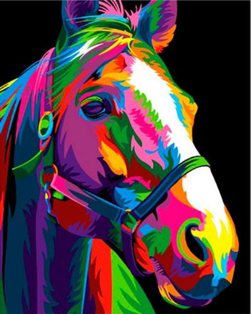 Картины по номерам: Картина по номерам Paintboy 40*50 GX27377 Разноцветная лошадь в Шедевр, художественный салон