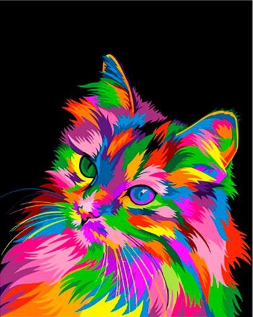 Картины по номерам: Картина по номерам Paintboy 40*50 GX30283 Разноцветная кошка в Шедевр, художественный салон