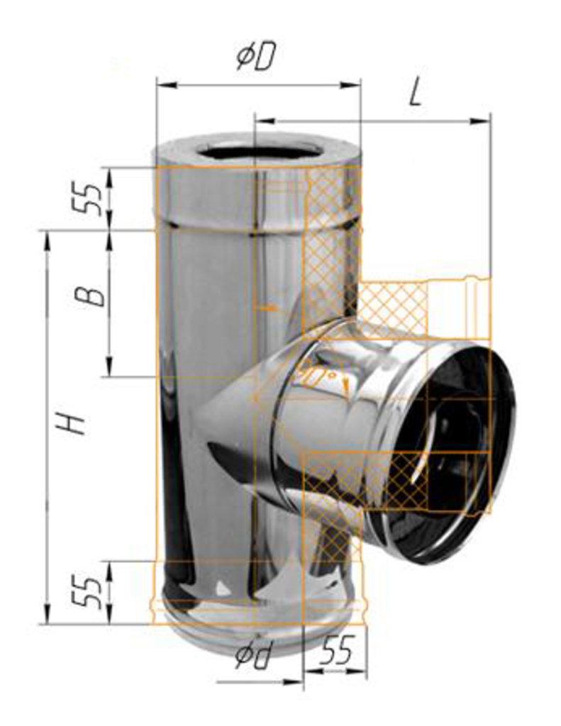 Печи и дымоходы: Тройник Феррум утепленный угол 90° нержавеющий (430/0,8мм)/зеркальный, ф115/200 в Погонаж