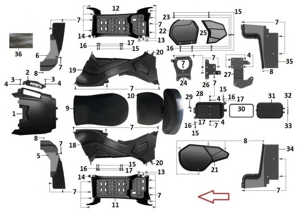 Запчасти для техники PM: Подножка левая R40700022 в Базис72