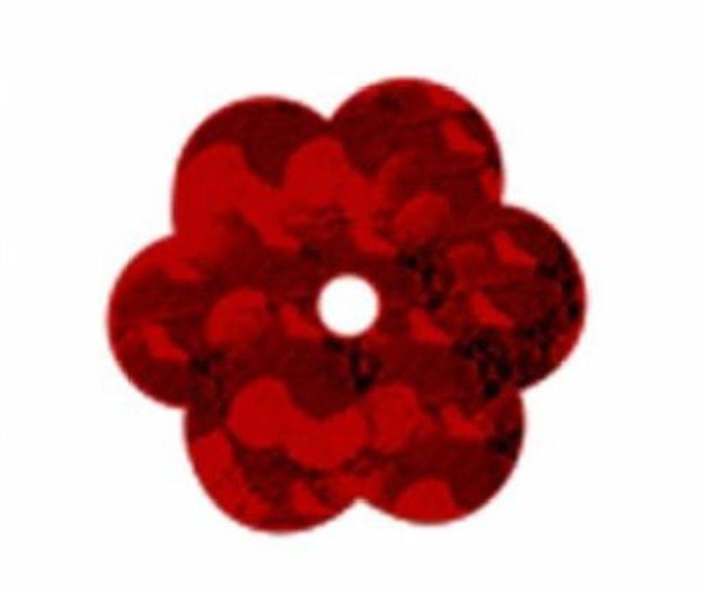 """Цветочки 10мм.: Пайетки""""Цветочки""""10мм.упак/10гр.Астра(цвет:50103 красный голограмма) в Редиант-НК"""