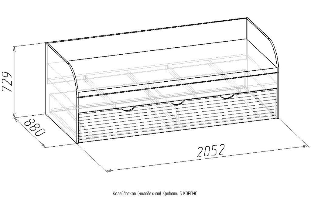 Детские и подростковые кровати: Кровать Калейдоскоп 5 (800, усилен. настил) в Стильная мебель