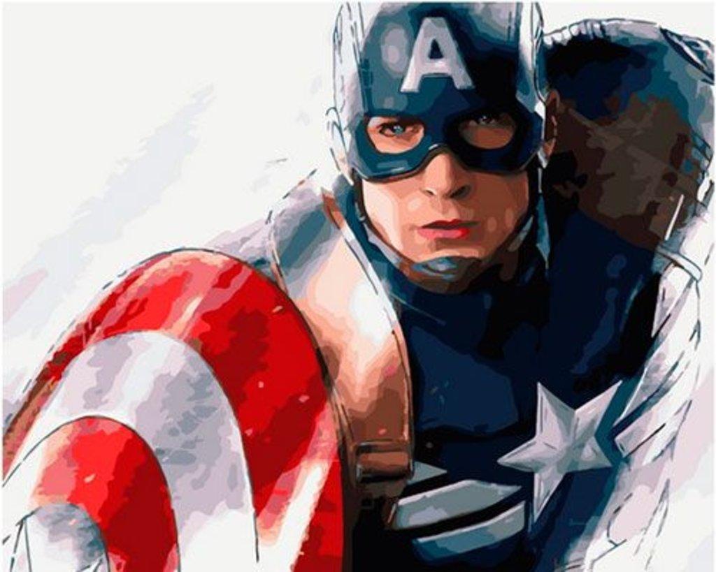 Картины по номерам: Картина по номерам Paintboy 40*50 GX36265 Капитан Америка в Шедевр, художественный салон