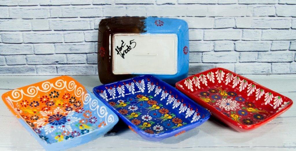 Мангалы. Казаны. Узбекская и турецкая посуда: Блюдо прямоугольное 20 см. точечное Турецкая керамика в Сельский магазин