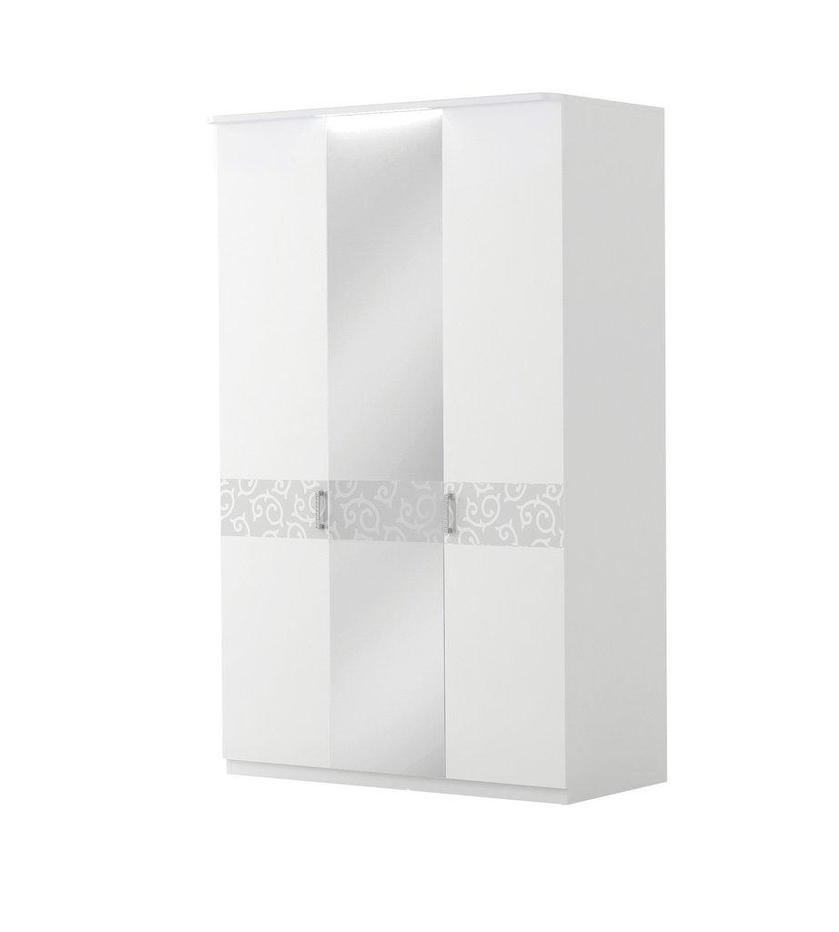 Шкафы для спальни: Шкаф 3-дверный с зеркалом и подсветкой Белла Вайт в Стильная мебель
