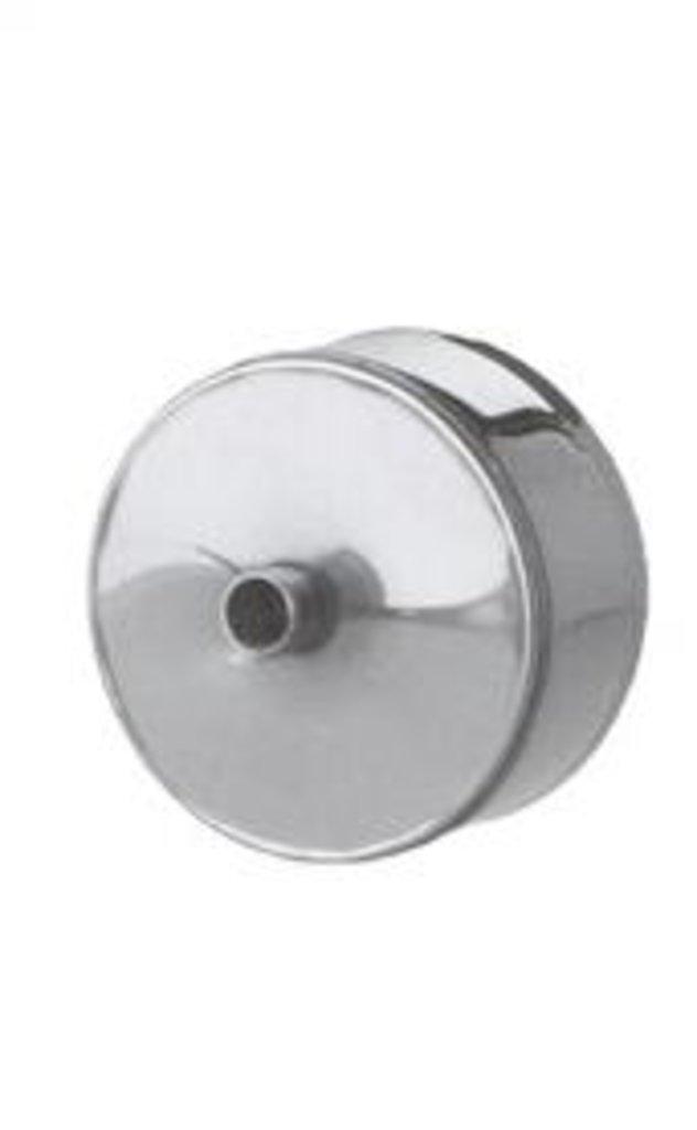 Печи и дымоходы: Заглушка Феррум М внешняя нержавеющая (430/0,5 мм) ф115 с конденсатоотводом в Погонаж