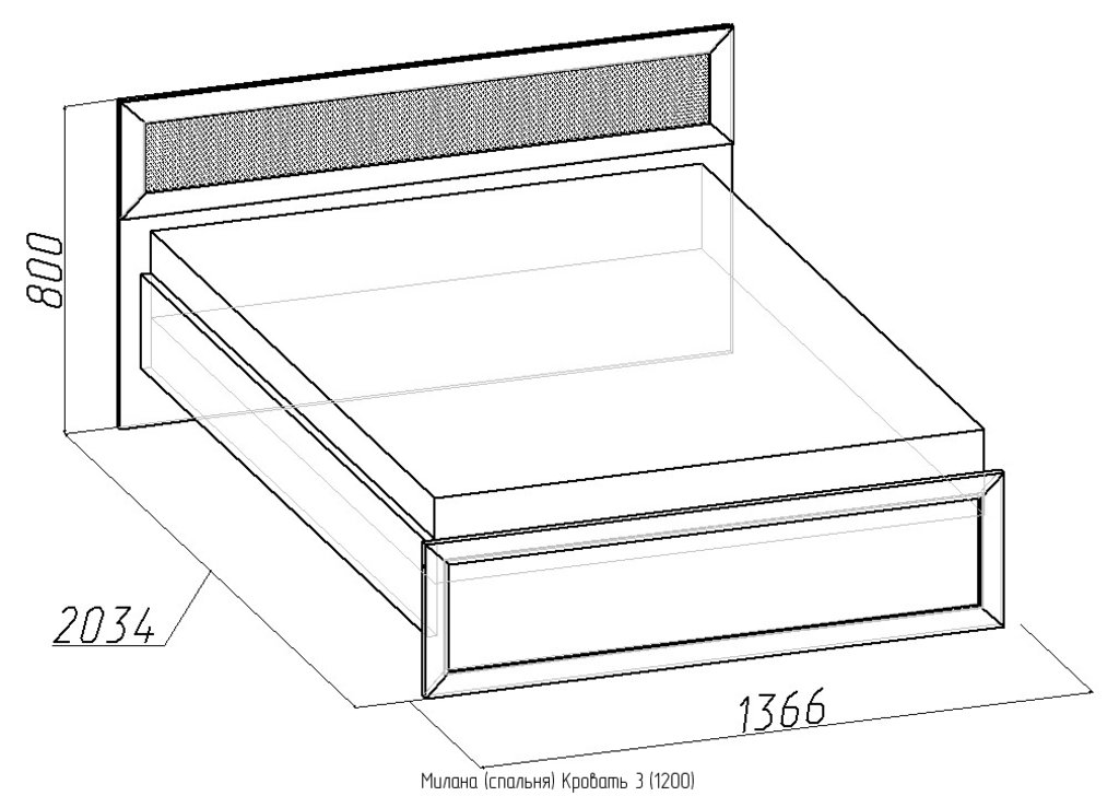 Кровати: Кровать Милана 3 (1200, орт. осн. дерево) в Стильная мебель