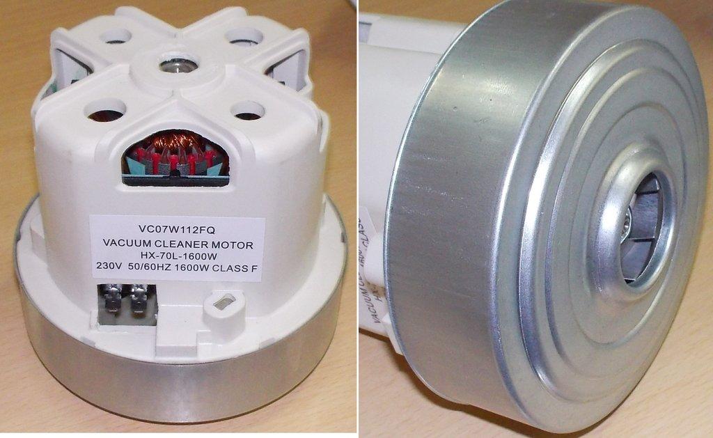 Запчасти для пылесосов: Мотор (двигатель) пылесоса 1600W,  H=108/40mm, D=111/92mm, HX-70L-1600W, VC07112FQW в АНС ПРОЕКТ, ООО, Сервисный центр