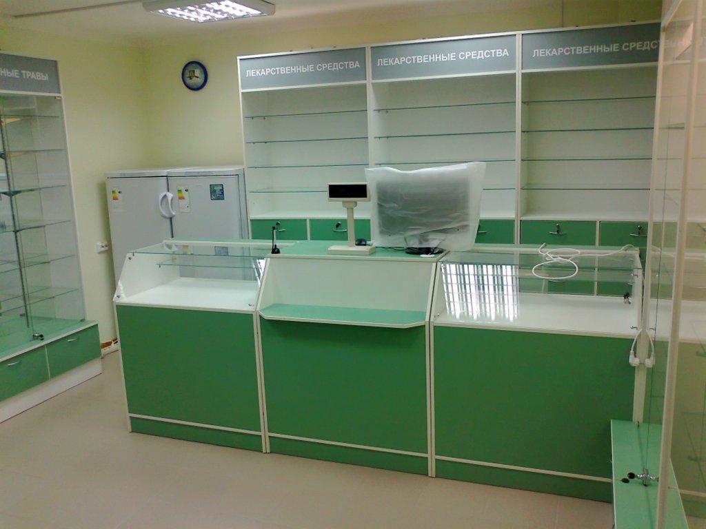Мебель для аптеки: Витрины для аптек - низкие в Студия Мебели
