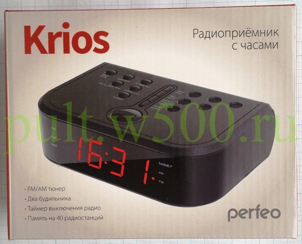 "LED часы-будильники: Радиочасы-будильник ""Krios"" два будильника, АМ/FM тюнер, питание 220 В ( Perfeo  PF_A4484) в A-Центр Пульты ДУ"