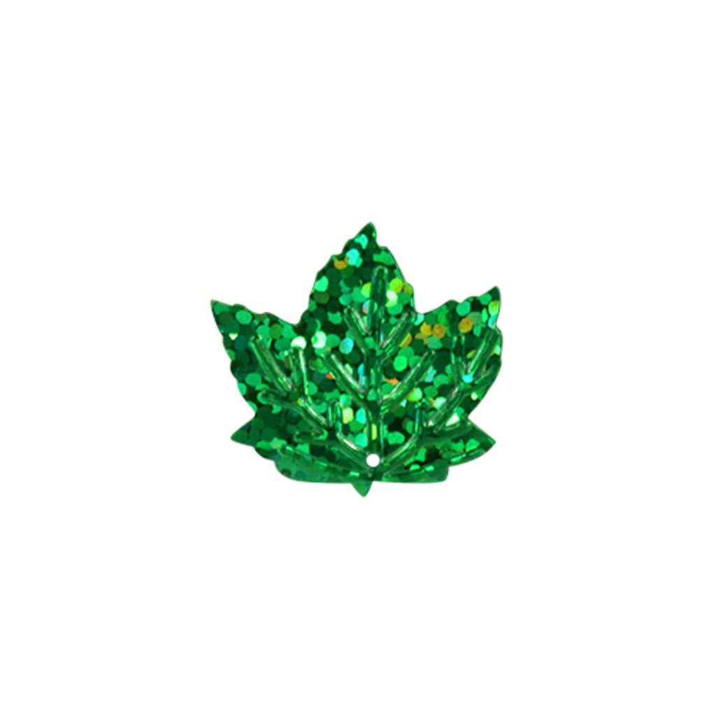 """Кленовый лист: Пайетки""""кленовый лист""""22*22мм.,упак/10гр.Астра(цвет:50104 зеленый голограмма) в Редиант-НК"""
