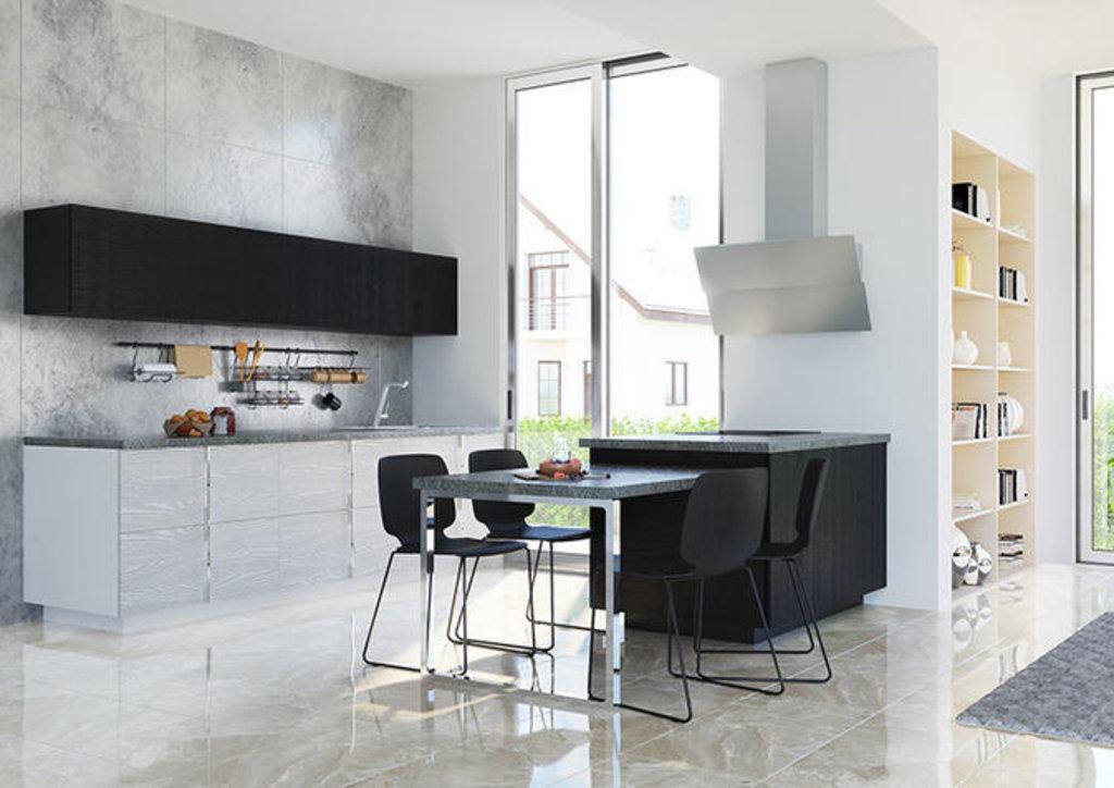 Кухни: Кухня Альберо Nero Bianco в Модный интерьер