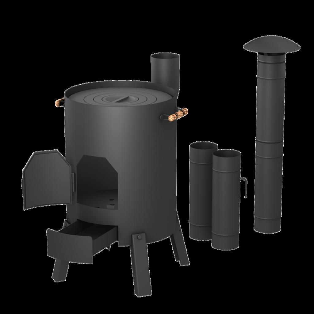 Печи и дымоходы: Печь для казана СТЭН КазанОК 8-12л разборная, переносная, в комплекте с дымоходом в Погонаж