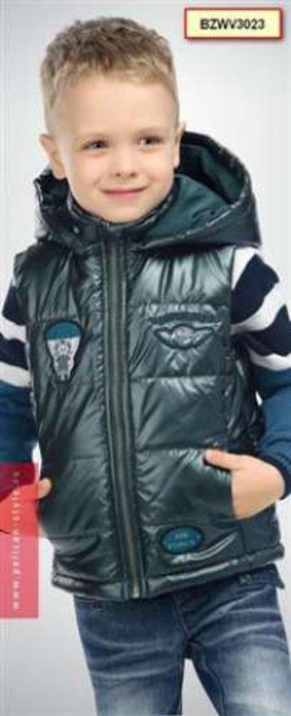 Верхняя одежда детская: Пеликан утепленный жилет со съемным капюшоном Весна в Чиполлино,  магазин детской одежды