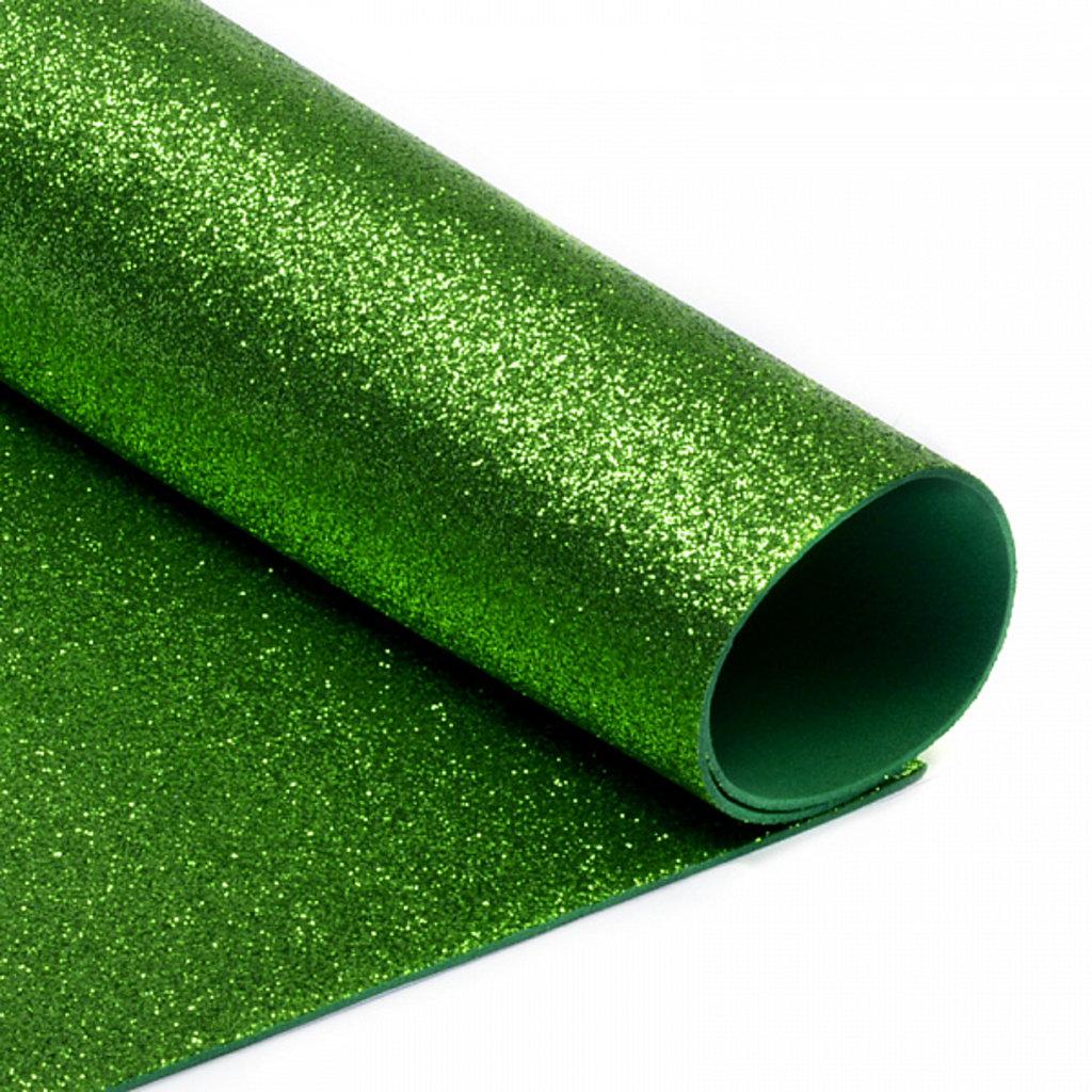 Фоамиран: Фоамиран глиттерный 2мм 20*30см зелёное яблоко, 1 лист в Шедевр, художественный салон