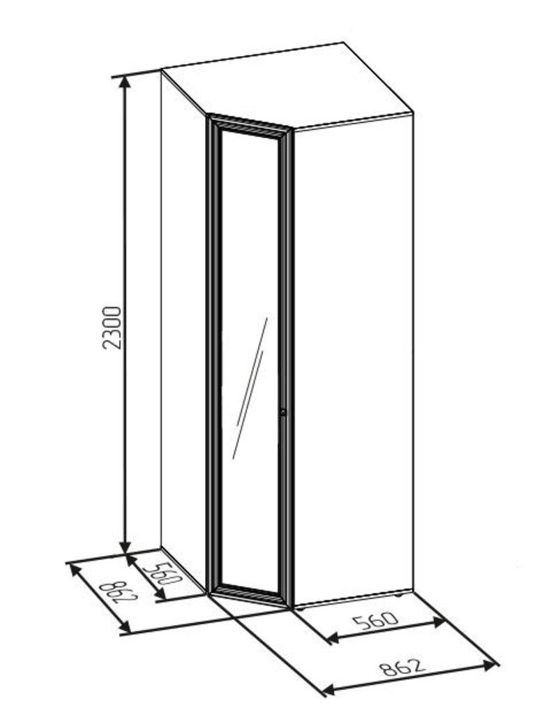 Шкафы для одежды и белья: Шкаф угловой PAOLA 156 патина (Зеркало прав.) в Стильная мебель