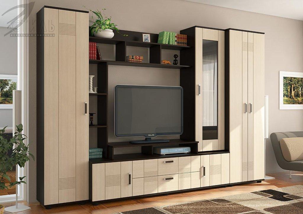Мебель для гостиной Стиль - 7(А) + шкаф МДФ: Шкаф для гостиной Стиль-7(А) МДФ (венге, клен светлый) в Диван Плюс