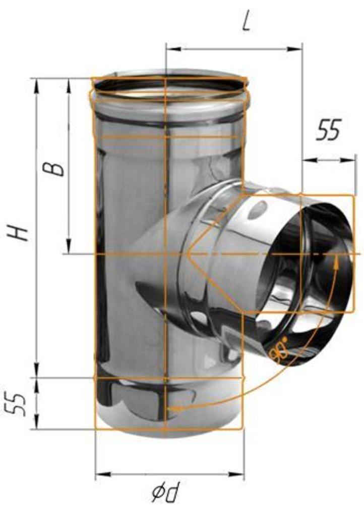 Печи и дымоходы: Тройник Феррум угол 90°, нержавеющий (430/0,8мм), ф115 в Погонаж