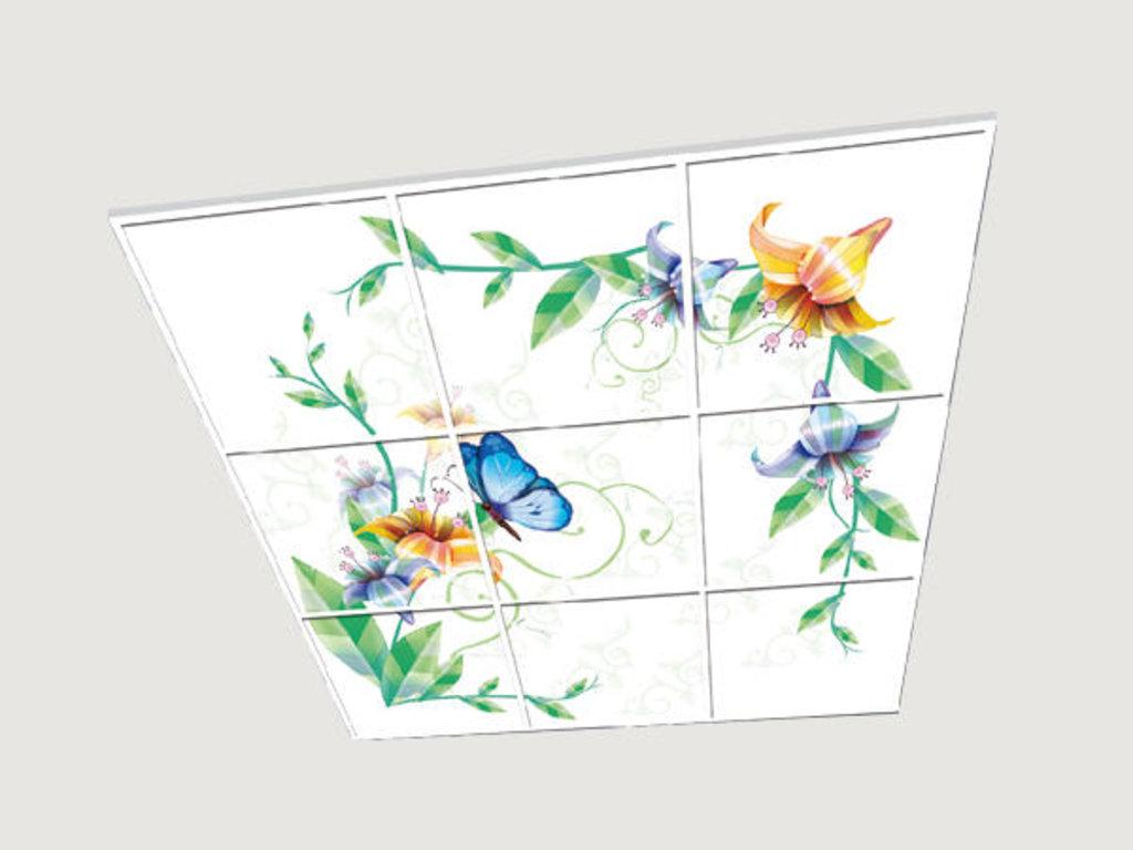 Витражные (стеклянные) потолки: Серия «Бабочки» в Мир Потолков
