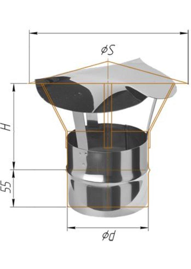 Печи и дымоходы: Зонт Феррум нержавеющий (430/0,5 мм), ф115 в Погонаж