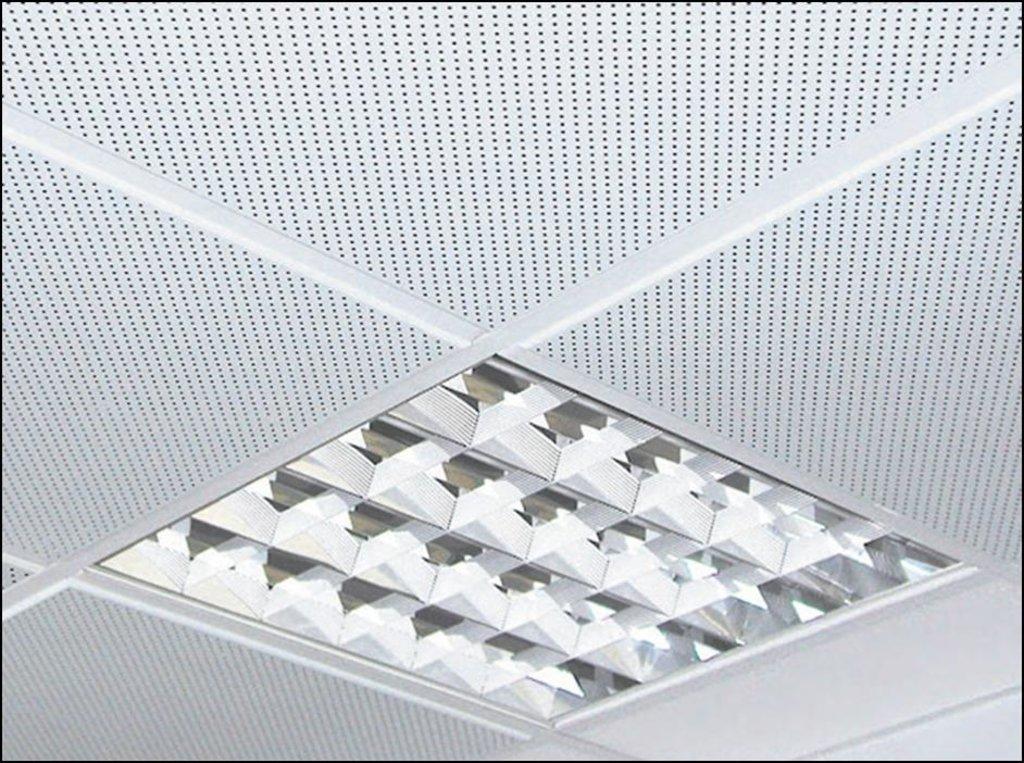 Кассетные металлические потолки: Алюминевая панель перфор. 1.8мм  SKY T24/TY белая алюминиевая   (Cesal) в Мир Потолков