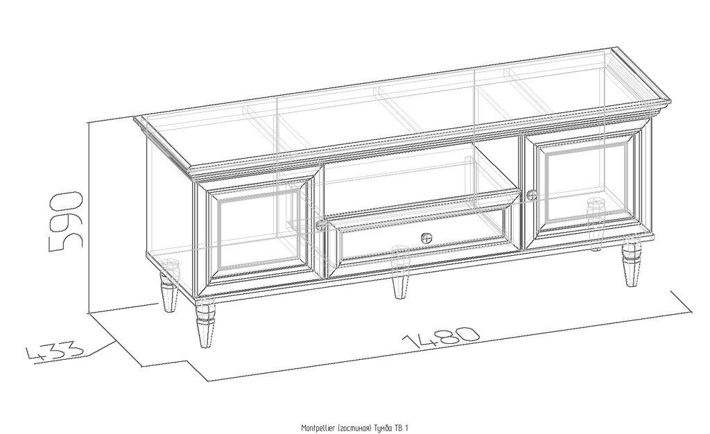 Тумбы и стойки под телевизор и аппаратуру: Тумба TВ 1 Montpellier в Стильная мебель