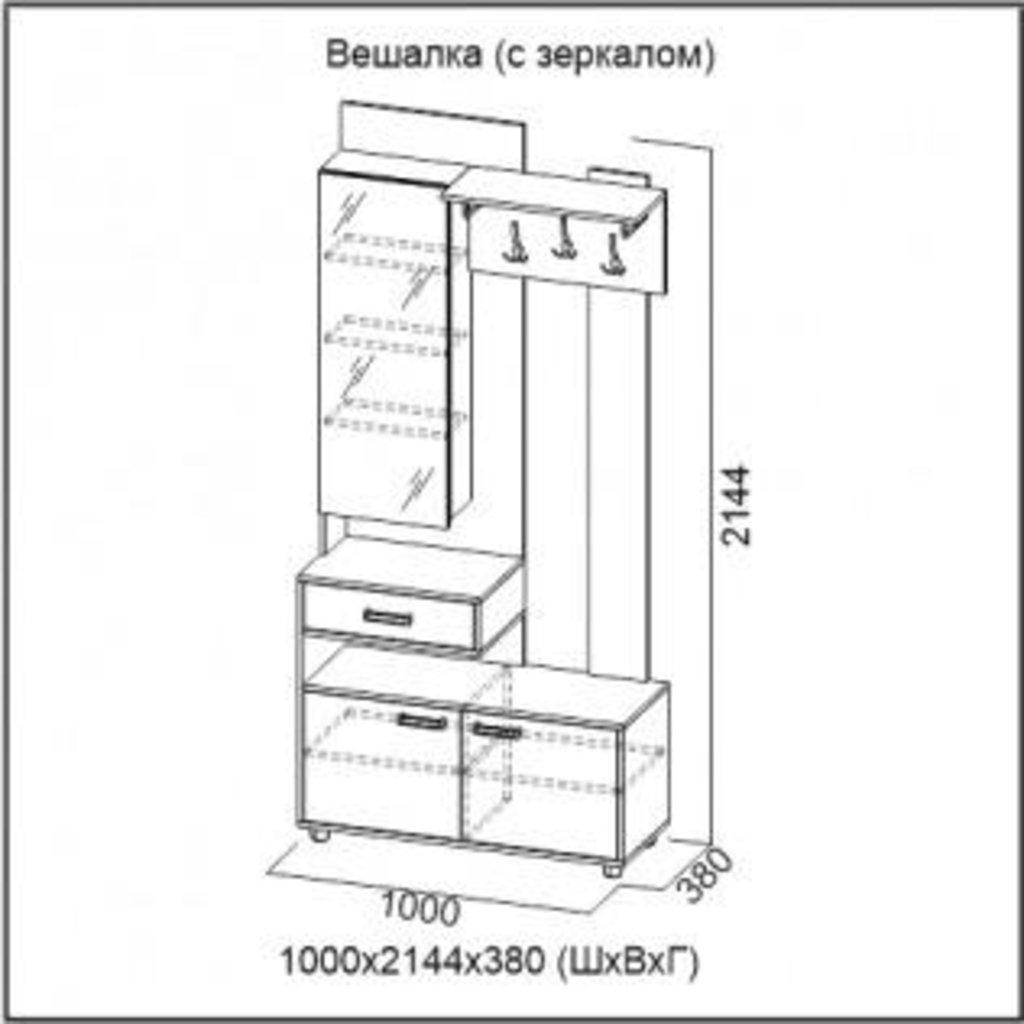Мебель для прихожей Визит-1: Вешалка (с зеркалом) Визит-1 в Диван Плюс