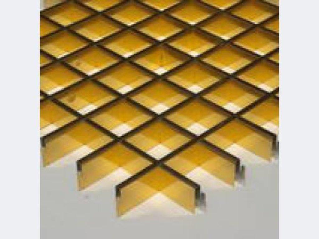 Потолки грильято: Подвесной потолок грильято 86х86 ( выс.30/шир.5) Эконом золото А111 в Мир Потолков
