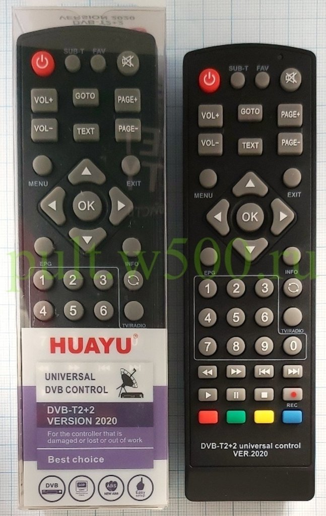 Пульты УНИВ. для приставок, ресиверов: Пульт универсальный для TV  приставок (DVB-T2+2 VERSION 2020 ) HUAYU в A-Центр Пульты ДУ