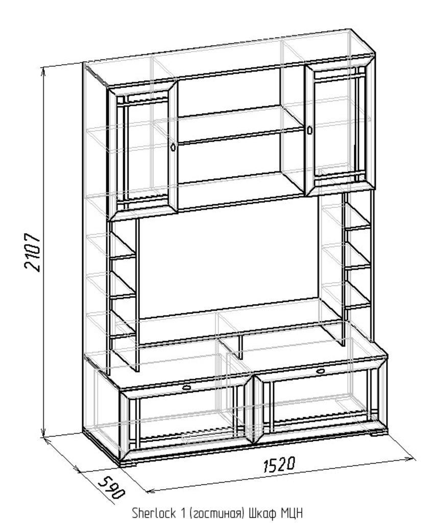 Шкафы, общие: Шкаф МЦН Sherlock 1 в Стильная мебель