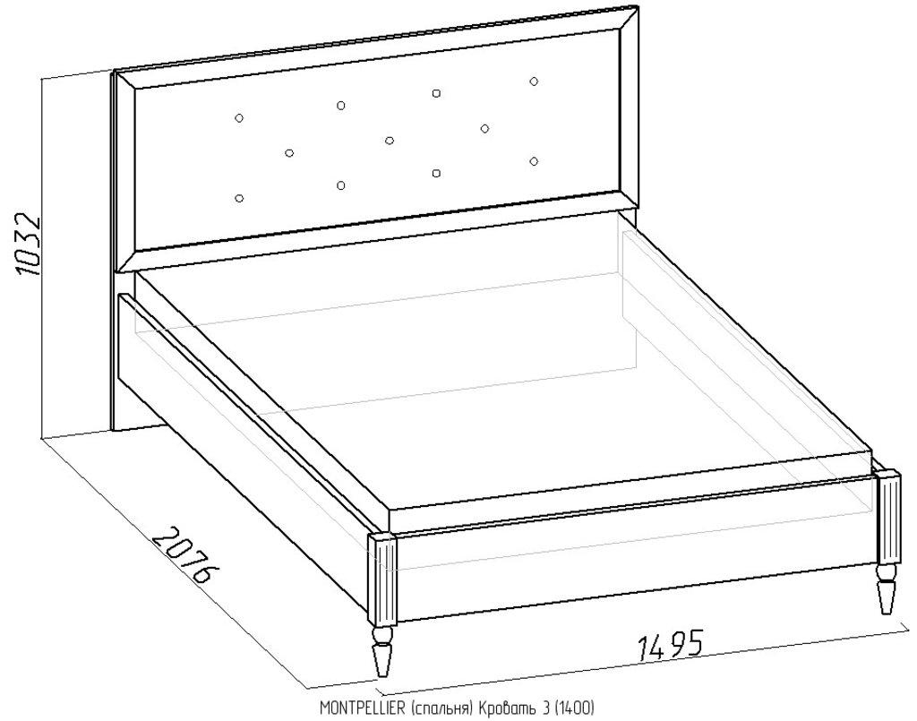 Кровати: Кровать Montpellier 3 (1400, орт. осн. дерево) в Стильная мебель