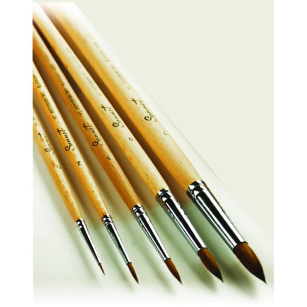 Колонок: Кисть колонок круглая длинная ручка пропитанная лаком Сонет №9 в Шедевр, художественный салон
